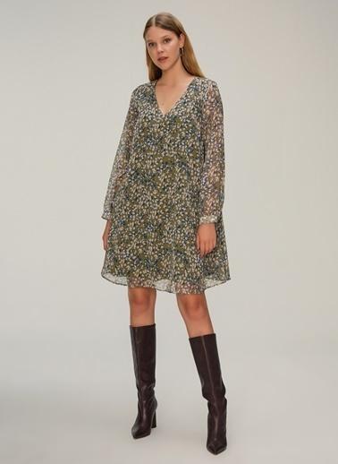 NGSTYLE V Yakalı Rahat Fit Elbise Haki